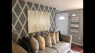 ACCENT WALL DESIGN WITHOUT WALLPAPER || DIY || LIVING ROOM