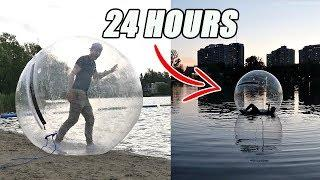 TRAPPED INSIDE A GIANT BUBBLE BALL FOR 24 HOURS!! *WATER CHALLENGE*