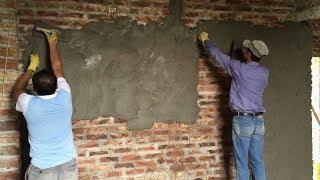 How To Rendering A Wall With Mortar - Sand And Cement Rendering On Brick Wall Easy