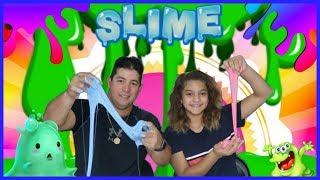 TEACHING MY DAD HOW TO MAKE SLIME FOR THE FIRST TIME !