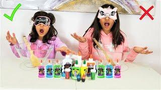 MAKING SLIME BLINDFOLDED CHALLENGE!!