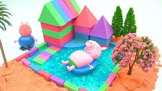 DIY How To Make Garden House with Kinetic Sand, Mad Mattr, Slime, Straws - Pionmo KS