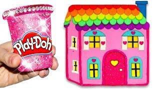 How To Make Play Doh Rainbow Colorful Baby Doll's House for Kids