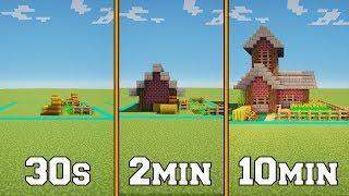30s VS 2min VS 10min - Farm House - Minecraft Timed Build Challenge - Ep.5