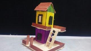 ho to matke modern Popsicle sticks house building Popsicle stick mansiom