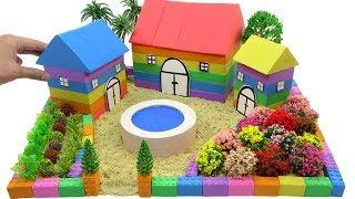DIY How To Make Rainbow House and Flower Decoration with Kinetic Sand, Mad Mattr