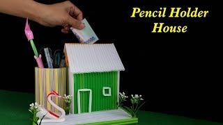 How to make Pencil Holder House with Straws