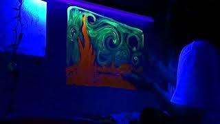 BLACKLIGHT STARRY NIGHT PAINTING ON MY WALL!