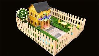 How to Make Wooden Stick House with Swimming Pool and Simple Garden Decoration