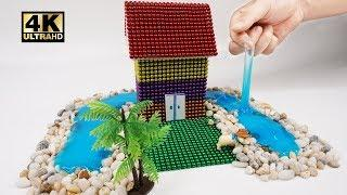 ASMR - How To Make  House in The Middle of The River with Magnetic Balls, Slime   Magnet World 4K