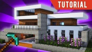 Minecraft: How To Build a Large Modern House Tutorial (Minecraft Modern Mansion) Fast Tutorial