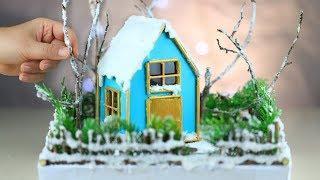 DIY Miniature Winter House - How to make a miniature Winter Zen Garden - Christmas House