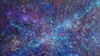Textured Galaxy Painting on Canvas Tutorial | D.I.Y Wall Art