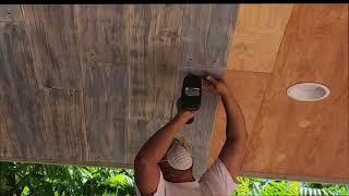 Distressed Shiplap ceiling DIY