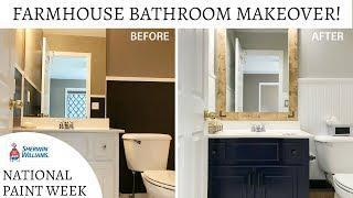 Farmhouse Bathroom Makeover | SW National Paint Week