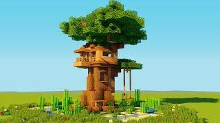 How to make a Minecraft TREE House! -  Easy Starter Treehouse - 2018