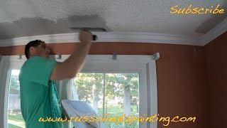 DIY Dry Scrape Popcorn Ceiling & Skim Coat -  Drywall Repair (Part 4)