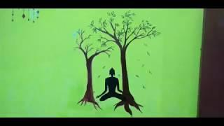 How to make a easy LORD BUDDHA wall painting