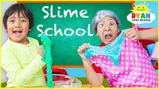 Ryan Pretend Play Making Slime and Learn in School!!!