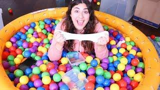 MAKING SLIME IN A BALL PIT CHALLENGE ~ Find the ingredients and make slime