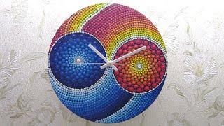 Dot mandala on wall clock |yin yang dot art| |fabonacci sequence|#35-full video tutorial by shwetaa