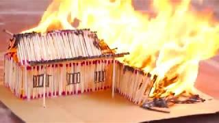 How to Make a Match House Town Without Glue and Burn it Down - Match Stick House Fire
