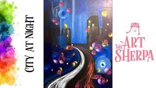 Easy How to paint with Acrylic on Canvas Abstract City at Night Bokeh