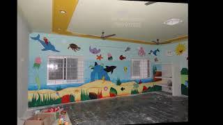 Nursery kids school wall murals services in #Karim nagar   7997977993