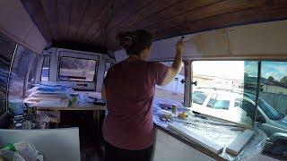 School Bus Conversion - Painting Walls and Building Kitchen Cabinets