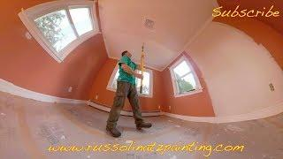 DIY Dry Scrape Popcorn Ceiling & Skim Coat -  Drywall Repair (Part 12)