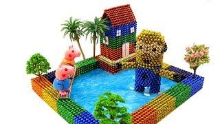 DIY How To Make Rainbow Lakeside House, Giant Minion, Peppa Pig  With Magnetic Balls, Surpeise Balls