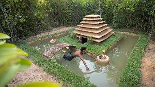 Build Swimming Pool Around Underground Temple House by Ancient Skill