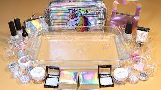 "Theme Series #17 ""hologram"" Mixing Makeup And glitter Into Clear Slime! ""hologram Silme"""