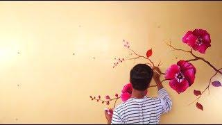 DIY ROOM DECOR || WALL FLOWER TREE PAINT WITH ACRYLIC COLOURS || ROOM DECORATION
