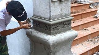 Building Step By Step - Rendering Sand And Cement On Decorative Concrete Columns