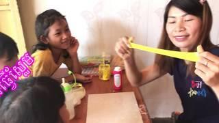 របៀបធ្វើស្លែមងាយៗ DIY how to make slime (easy) speak Khmer