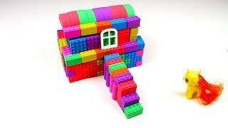 Kinetic Sand. How to make a rainbow kinetic sand House for kids