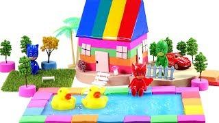 DIY How To Make Garden House, Pool with  Mad Mattr and Pj masks toys