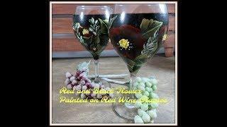 Red and Black Flowers Painted on Red Wine Glasses   Painting a Wine Glass   Aressa   2018