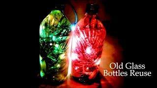 Old glass Bottle Reuse for diwali light Decoration-no cost diy- Tuber Tip