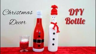 Easy Christmas Wine Bottle decor | How to make Decorative Wine Bottles for Christmas | holiday Craft