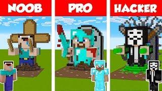 Minecraft NOOB vs PRO vs HACKER: STATUE HOUSE BUILD CHALLENGE in Minecraft / Animation