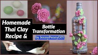 Beautiful flower bottle decoration|How to make Thai Clay at home|best out of waste|clay flower|part1