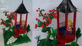 how to make cardboard house || minecraft house ||plastic bottle craft||dustu pakhe