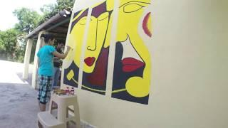 Wall Painting | Wall mural | Abstract art | Acrylic painting | Time lapse video Go Pro hero 4