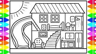 How to Draw a House with a Fun Slide for Kids ???????????? House Drawing and Coloring Pages for Kids