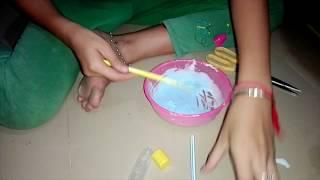 Make slime in khmer ( blue slime )