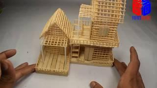 How To Make a Small Toothpick House (BEAUTIFUL & EASY WAY), DIY Make Small Hose for Kids At Home