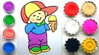 Kids  Sand Painting |House Coloring Page with Colored Sands | How to Make Sand Painting