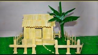 DIY sticks House/ How to make a popsicle sticks House /craft by dev